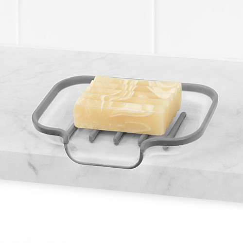 Cora Sink Sponge & Soap Dish-Gray