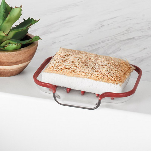 Cora Sink Sponge & Soap Dish-Red