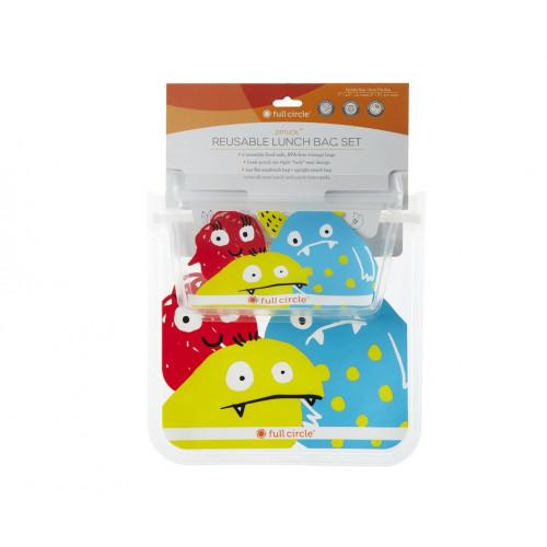 Ziptuck Reusable Lunch Bag Set-Monster