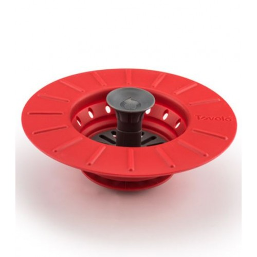 Collapsible Stopper Strainer Red