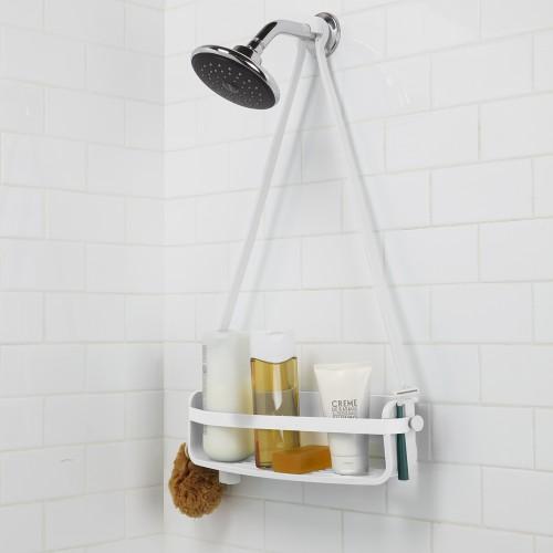 Flex Single Shelf Shower Caddy (White)