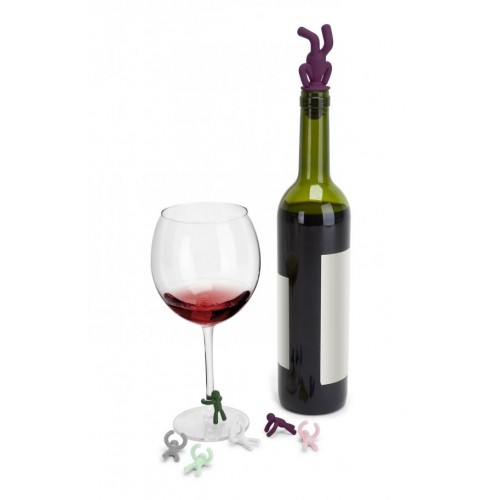 Drinking Buddy Wine Charms (Green-Violet)