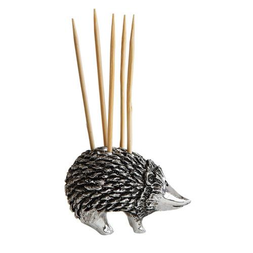 "1""H Pewter Hedgehog Toothpick Holder w/ 5 Toothpicks"