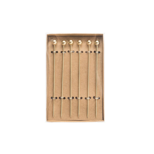 """4""""L Stainless Steel Serving Picks in Box, Gold Electroplated, Set of 6"""